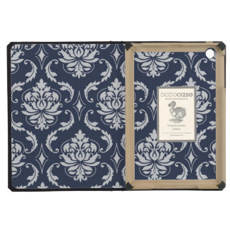 Vintage Navy Blue White Damask Pattern iPad Mini Cover