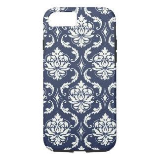 Vintage Navy Blue White Damask Pattern iPhone 7 Case