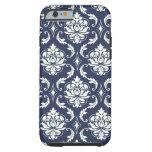 Vintage Navy Blue White Damask Pattern iPhone 6 Case