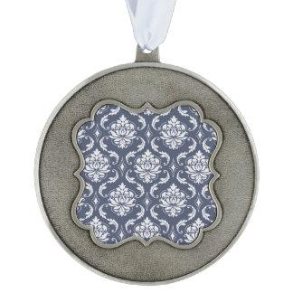 Vintage Navy Blue White Damask Pattern Scalloped Pewter Ornament