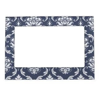 Vintage Navy Blue White Damask Pattern Magnetic Photo Frame