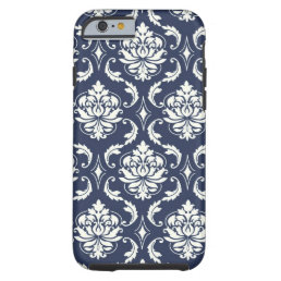 Vintage Navy Blue White Damask Pattern Tough iPhone 6 Case