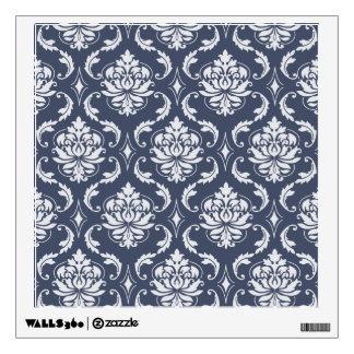 Vintage Navy Blue White Damask Pattern Wall Sticker