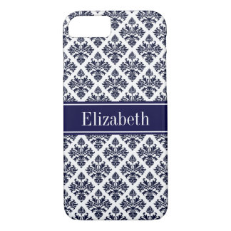 Vintage Navy Blue Wht Damask #3 Navy Name Monogram iPhone 8/7 Case