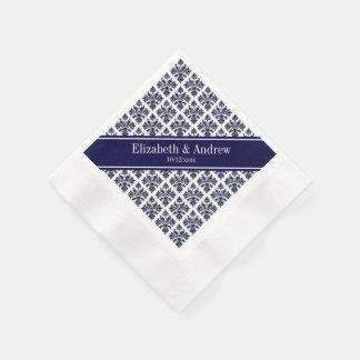 Vintage Navy Blue Wht Damask #3 Navy Name Monogram Napkin