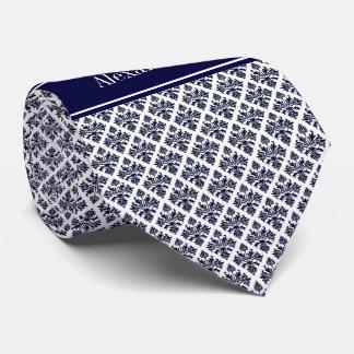 Vintage Navy Blue Wht Damask #3 Navy Name Monogram Neck Tie