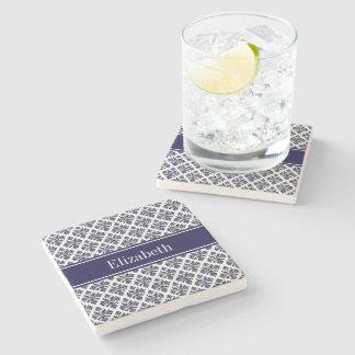 Vintage Navy Blue Wht Damask #3 Navy Name Monogram Stone Beverage Coaster