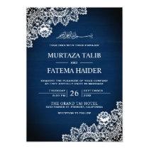Vintage Navy Blue Wood Lace Islamic Muslim Wedding Invitation