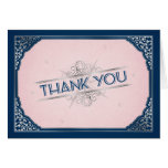 Vintage Navy Blush Compass Wedding Thank You Greeting Card