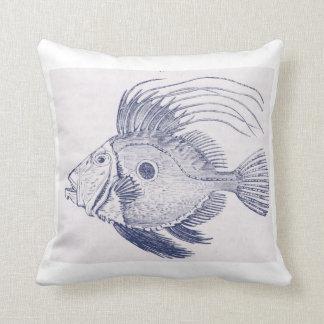 vintage navy fish throw pillow
