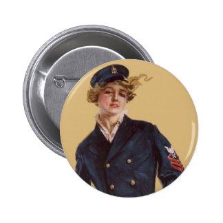 Vintage Navy Girl Howard Chandler Christy 2 Inch Round Button