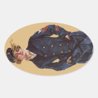 Vintage Navy Girl Howard Chandler Christy Oval Sticker