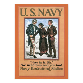 Vintage Navy Here he is, Sir, recruiting poster Custom Announcements