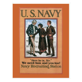 Vintage Navy Here he is, Sir, recruiting poster Postcard
