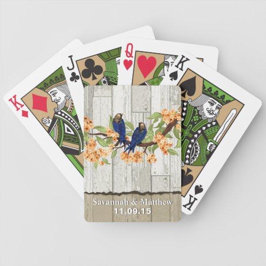 Vintage Navy Love Birds Wedding Gift Playing Card