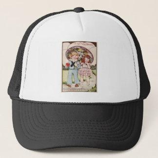 Vintage Navy Officer Girl Umbrella Heart Valentine Trucker Hat
