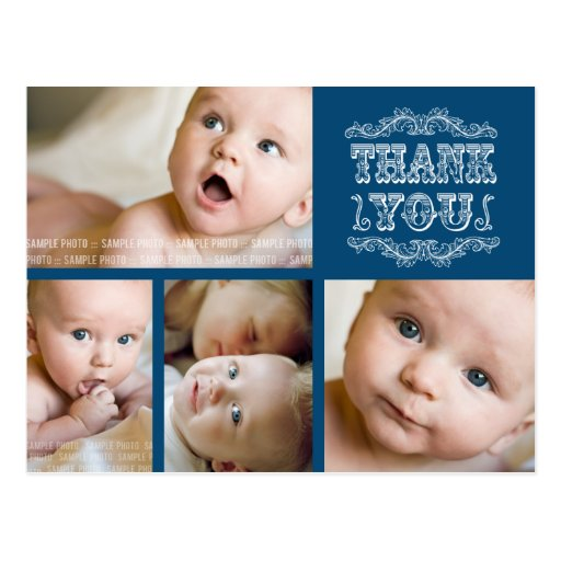VINTAGE Navy Photo Baby Thank You Post Card