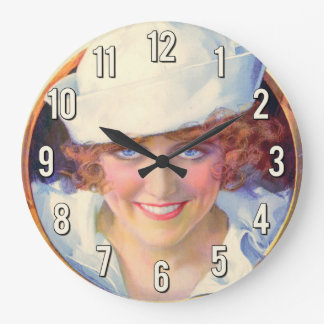 Vintage Navy Pinup Girl Wall Clocks