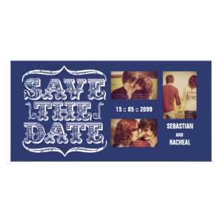 Vintage Navy Save the Date Typography Photo Card