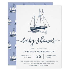 Nautical Baby Shower Invitations, Vintage Navy Ship