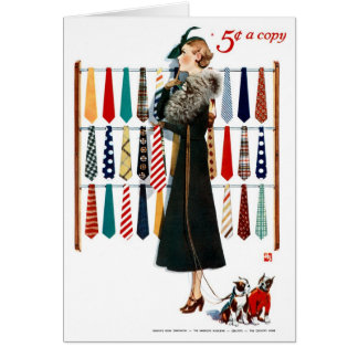 "VINTAGE ""NECKTIES"" FASHION COVER ART GREETING GREETING CARD"