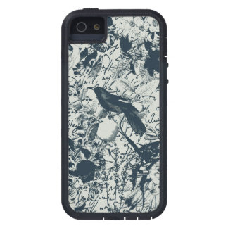Vintage negro y pájaro blanco floral e impresión funda para iPhone 5 tough xtreme