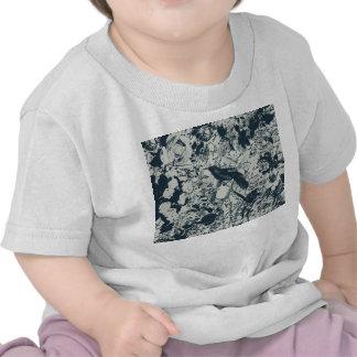 Vintage negro y pájaro blanco floral e impresión camisetas