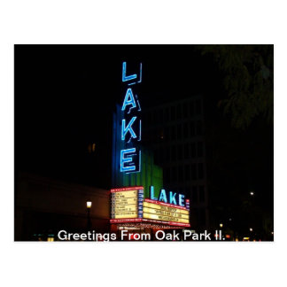 Vintage Neon Sign, Lake Theater, Oak Park Il. Post Cards