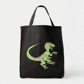 Vintage neon velociraptor green tote bag