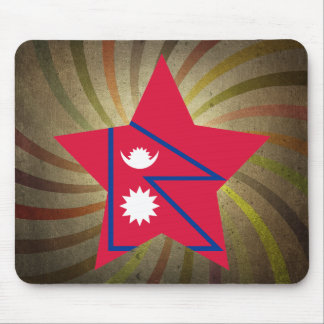 Vintage Nepalese Flag Swirl Mouse Pad