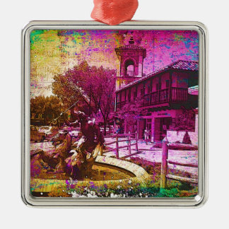 Vintage Neptune Fountain Colorful Grunge Square Metal Christmas Ornament