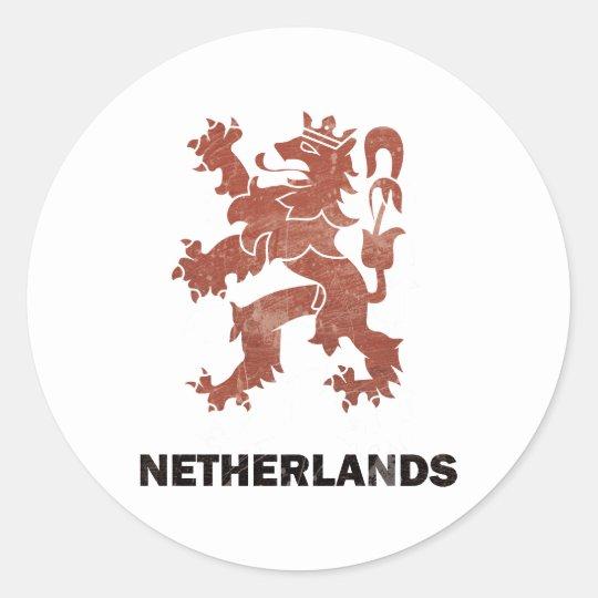Vintage Netherlands Classic Round Sticker