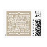 Vintage NEUTRALS Save the Date Postage Stamp