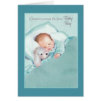 Vintage New Baby Boy Greeting Card