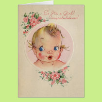 Vintage New Baby Girl Congratulations Card