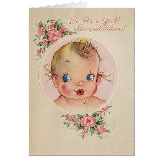 Vintage New Baby Girl Congratulations Card