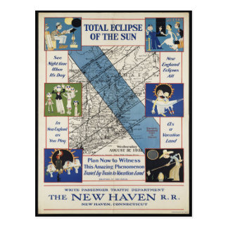 Vintage New England Eclipse Path 1932 Postcard