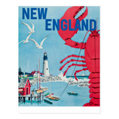 Vintage New England Lobster Lighthouse Travel Postcard at Zazzle