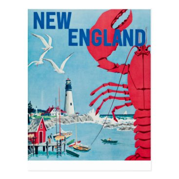 PD_Graphics Vintage New England Lobster Lighthouse Travel Postcard