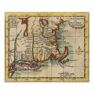 Vintage New England & Long Island Map (1703) Poster