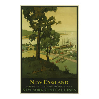 Vintage New England Railroad Travel Poster