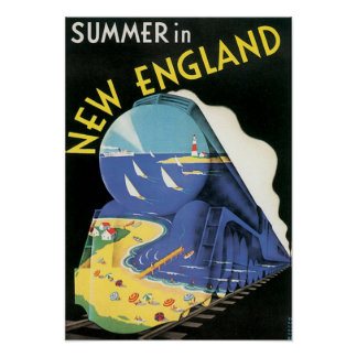 Vintage New England Train Advertisement Poster