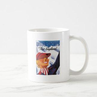 Vintage New England Winter Sports Classic White Coffee Mug