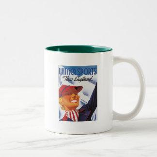 Vintage New England Winter Sports Two-Tone Coffee Mug