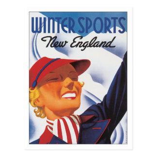 Vintage New England Winter Sports Postcard