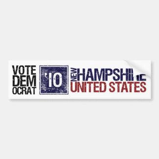 Vintage New Hampshire de Demócrata del voto en 201 Pegatina De Parachoque