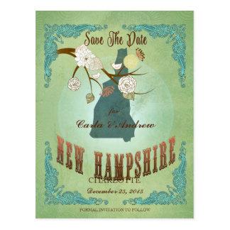 Vintage New Hampshire State Map – Sage Green Postcard