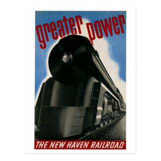 Vintage New Haven Railroad locomotive travel Postcard