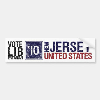 Vintage New Jersey del libertario del voto en 2010 Pegatina De Parachoque
