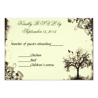 Vintage New Life RSVP in Off white 3.5x5 Paper Invitation Card